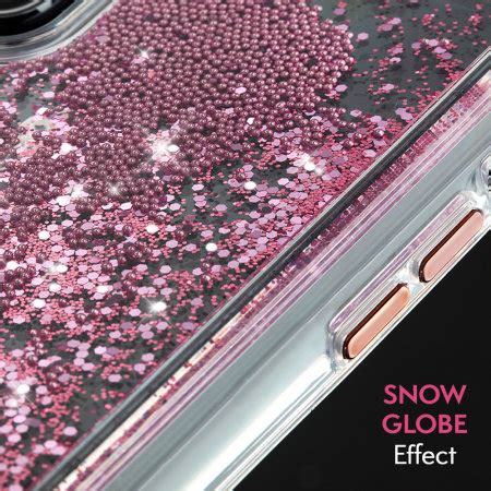 case mate iphone xr waterfall glow glitter case rose gold