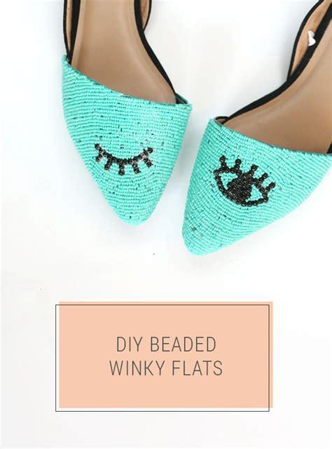 Winky Black Shoes diy beaded shoes winky eye pattern flats shrimp salad