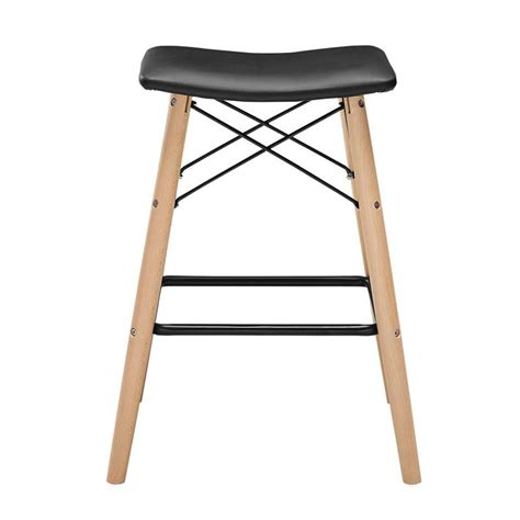 Black Faux Leather Counter Stools by Walker Edison Retro Modern Faux Leather 26 Inch Counter
