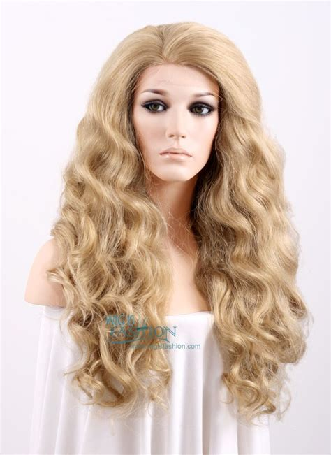 lightened front hair 24 quot long curly wavy ash blonde with light tips lace front