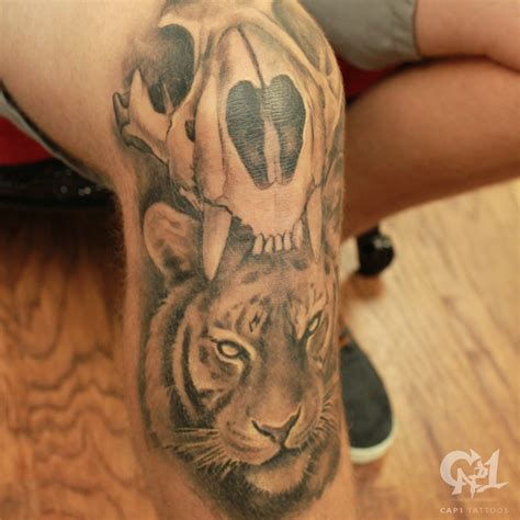 tattoo shops denton tx tiger skull and tiger knee by capone tattoonow