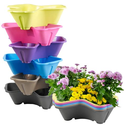 stackable plastic 3 plants flower pots pot holder coloured