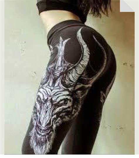 legging tights satanic demon baphomet pentagram goat black