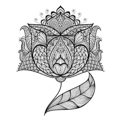hand drawn magic flower  antistress coloring page stock