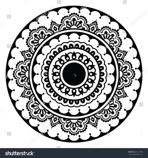 round pattern tattoo mehndi indian henna floral tattoo round stock vector