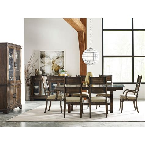 kincaid furniture portolone trestle table dining room set kincaid furniture wildfire seven piece dining set with