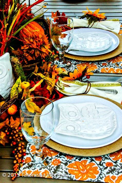 fall owl decorations owl themed fall tablescape