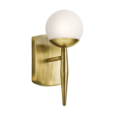 Brass Wall Sconce Shop Kichler Jasper 4 5 In W 1 Light Brass Arm Wall Sconce At Lowes