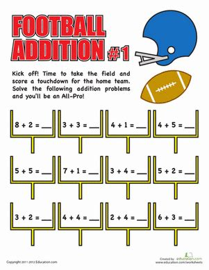 Football Worksheets For Middle School by Football Addition Worksheet Education