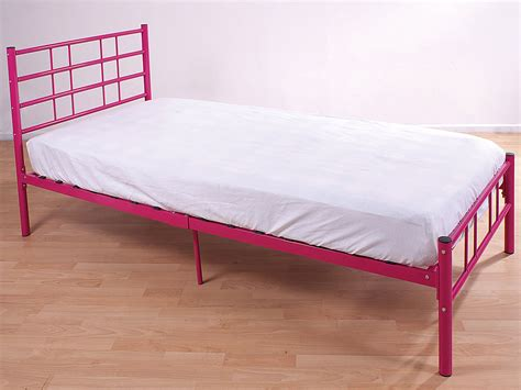 Cheap White Single Bed Frame 3ft Single Bed Frame Black Blue Pink Silver White Cheap Strong Metal Bed Ebay