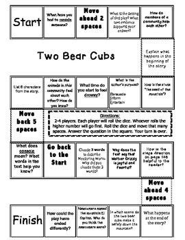 """""""Two Bear Cubs"""" Comprehension Game Board 