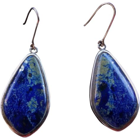 vintage lapis lazuli sterling silver large earrings from