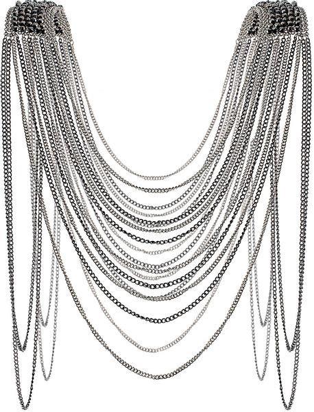 shoulder drape necklace topshop bead shoulder drape necklace in silver multi lyst