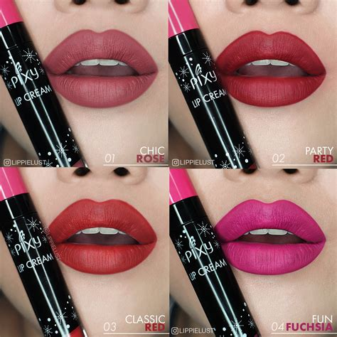 Lipstik Pixy review swatches all 12 shades of pixy cosmetics lip