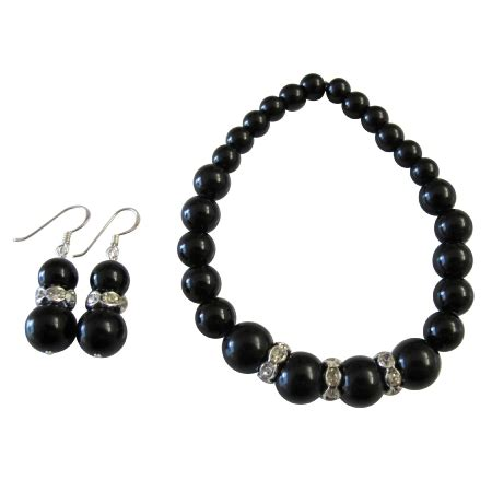 Handmade Pearl Bracelets - handmade stretchable black pearl bracelet matching