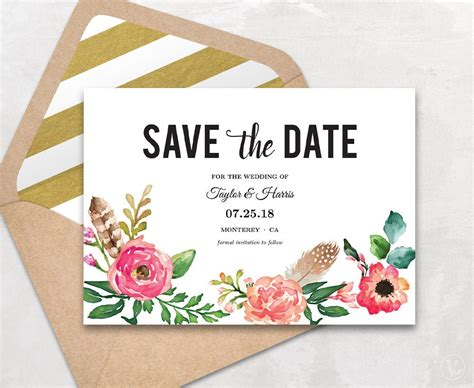 Printable Save The Date Card Save The Date Template Peony Save The Date Cards Templates 2