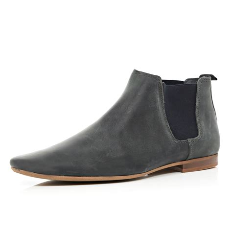 grey chelsea boots mens river island grey leather pointed chelsea boots in gray
