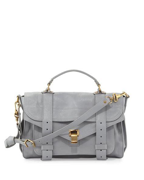 grey leather satchel proenza schouler ps1 medium leather satchel bag in gray light grey lyst