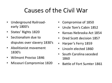 causes of the civil war sectionalism causes of the civil war list