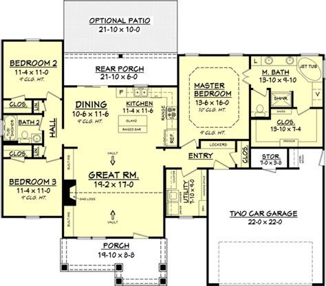 bath house floor plans craftsman style house plan 3 beds 2 baths 1675 sq ft plan 430 78