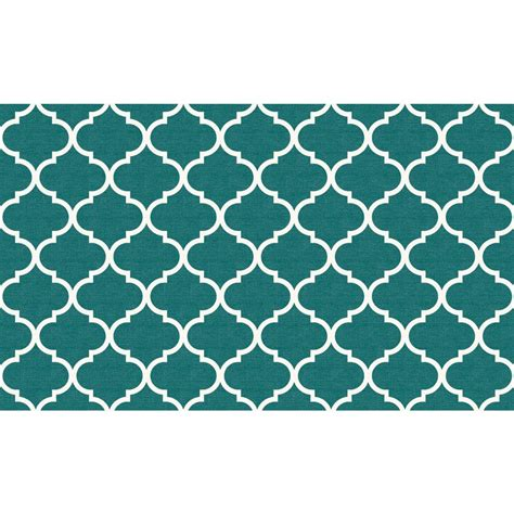 teal trellis rug ruggable washable moroccan trellis teal 3 ft x 5 ft accent rug 148237 the home depot