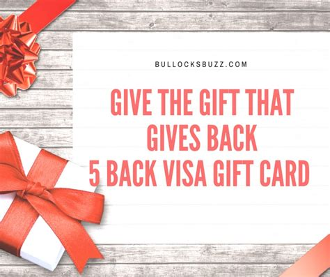 Visa Five Back Gift Card - 5 back visa gift card the gift that gives back 5back17