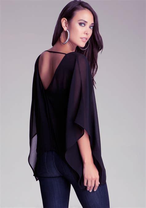 Kimono Top 2 bebe scoop back kimono top in black lyst
