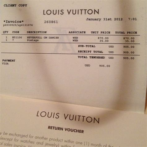 Louis Vuitton Receipts Templates by Louis Vuitton Receipt Template Free