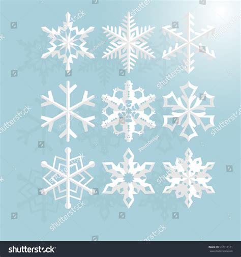 Origami Snowflake Design - set origami snowflake paper cut stock vector