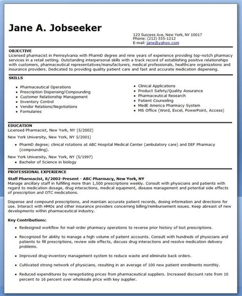 pharmacist resume sles 47 best images about career on