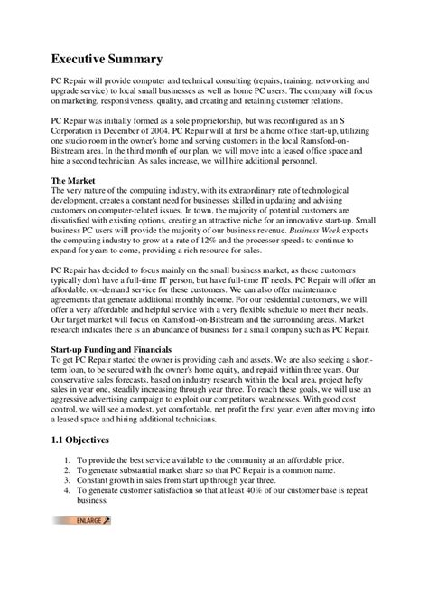 sle business plan of computer shop business plan in computer shop