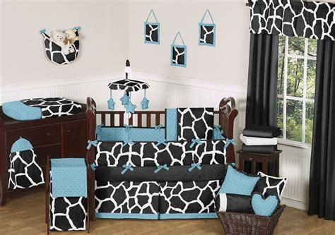 giraffe nursery bedding set black blue white giraffe animal print boy baby bedding crib set made in usa ebay