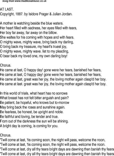 The Last American Lyrics Time Song Lyrics For 20 At Last