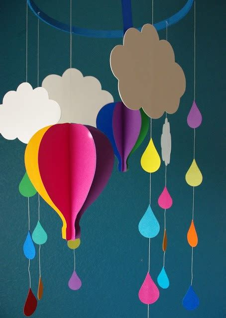 Extraordinary Creative Diy Paper Art Project Colorful Hot Air Balloon Mobile Template Video Air Balloon Mobile Template