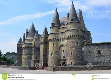 vire read castle in vire in normandy on july 2014 stock