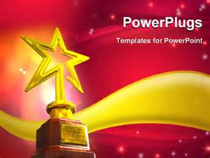 awards presentation template powerpoint template gold trophy placed a golden