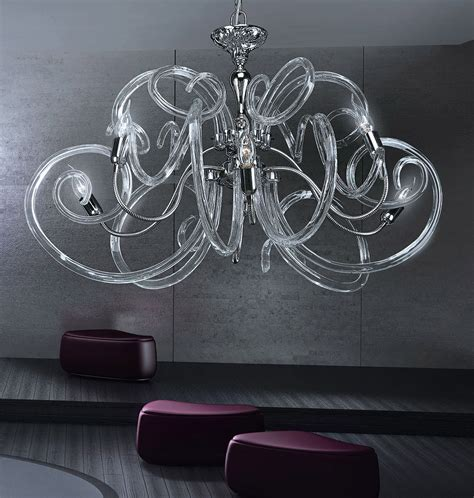kronleuchter modern glas chrome modern contemporary chandelier with clear murano