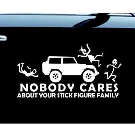 jeep decals stick figure jeep family nobody cares car truck