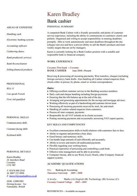 resume format of cashier 28 images cashier cv exle for