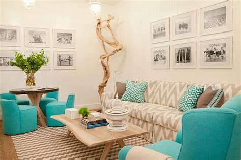 aqua and white living room home design