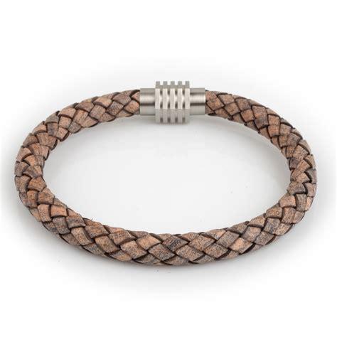 Leather Bracelet 10 braided leather bracelet beige 8mm silver hexagonrichbud handmade leather craft