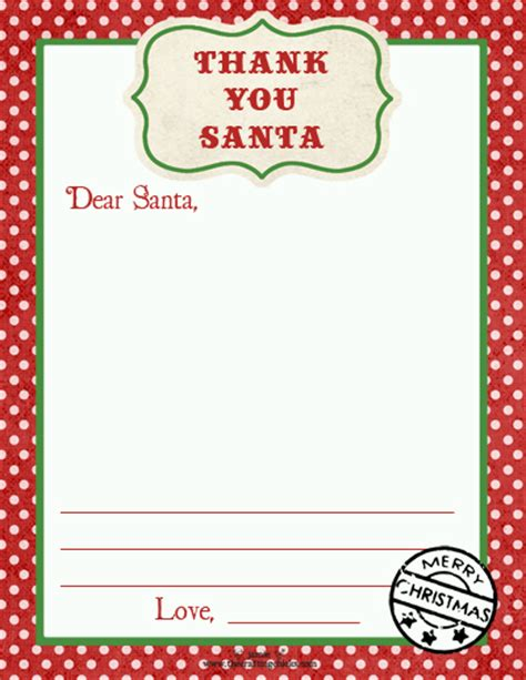 Thank You Letter Santa Template Free Thank You Santa Stationery Cookies For Santa Tags Free Downloads The Crafting