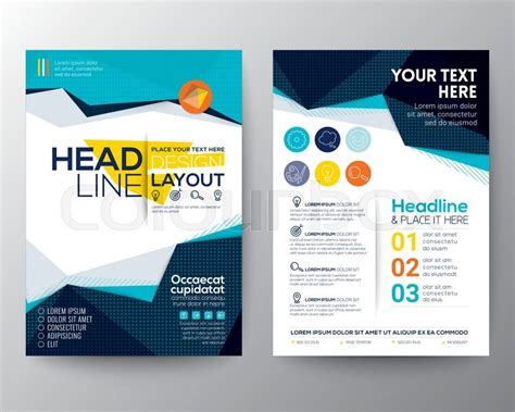 abstract blue low polygon leaflet brochure flyer template abstract low polygon triangle shape background for poster