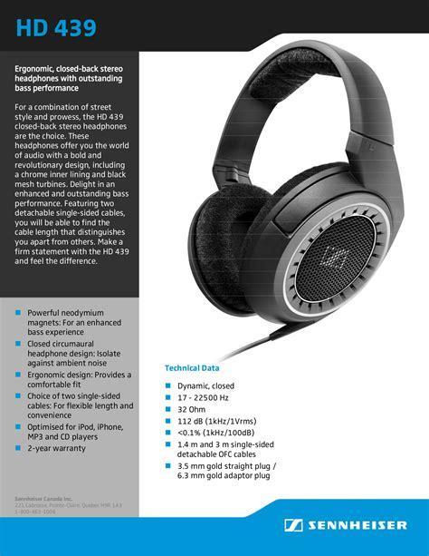 Headphone Sennheiser Hd 439 Pdf Manual For Sennheiser Headphone Hd 439