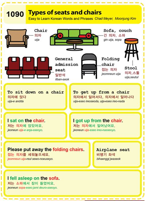 1090 types of seats and chairs easy to learn korean etlk