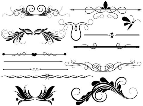 photoshop brush pattern lines divider page decoration vectors designs brushes shapes