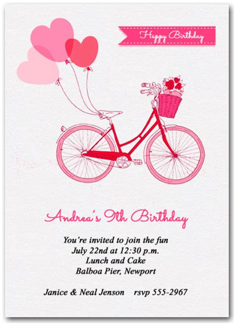 bicycle birthday card template balloons and pink bike invitations