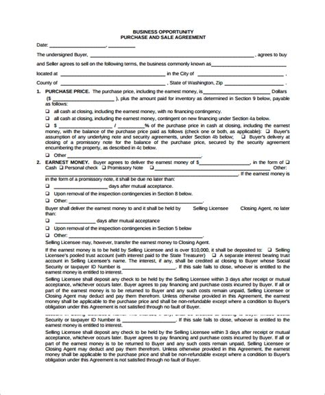 business purchase agreement template sle purchase and sale agreement 11 documents in word
