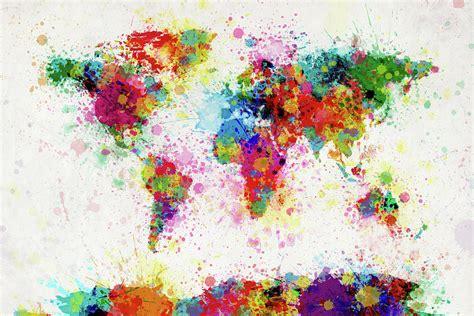 world map paint drop  michael tompsett