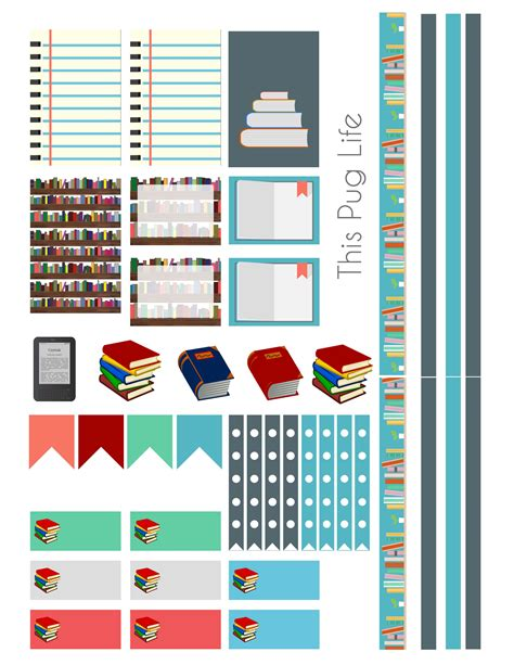 printable book stickers library book planner sticker set free printable this